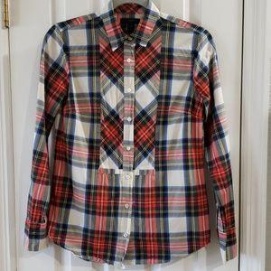 J. Crew Perfect Shirt Button-Down Tartain Plaid